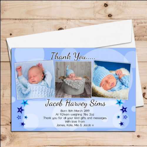 10 Personalised Baby Boy Birth Announcement Thank You Photo Cards N51